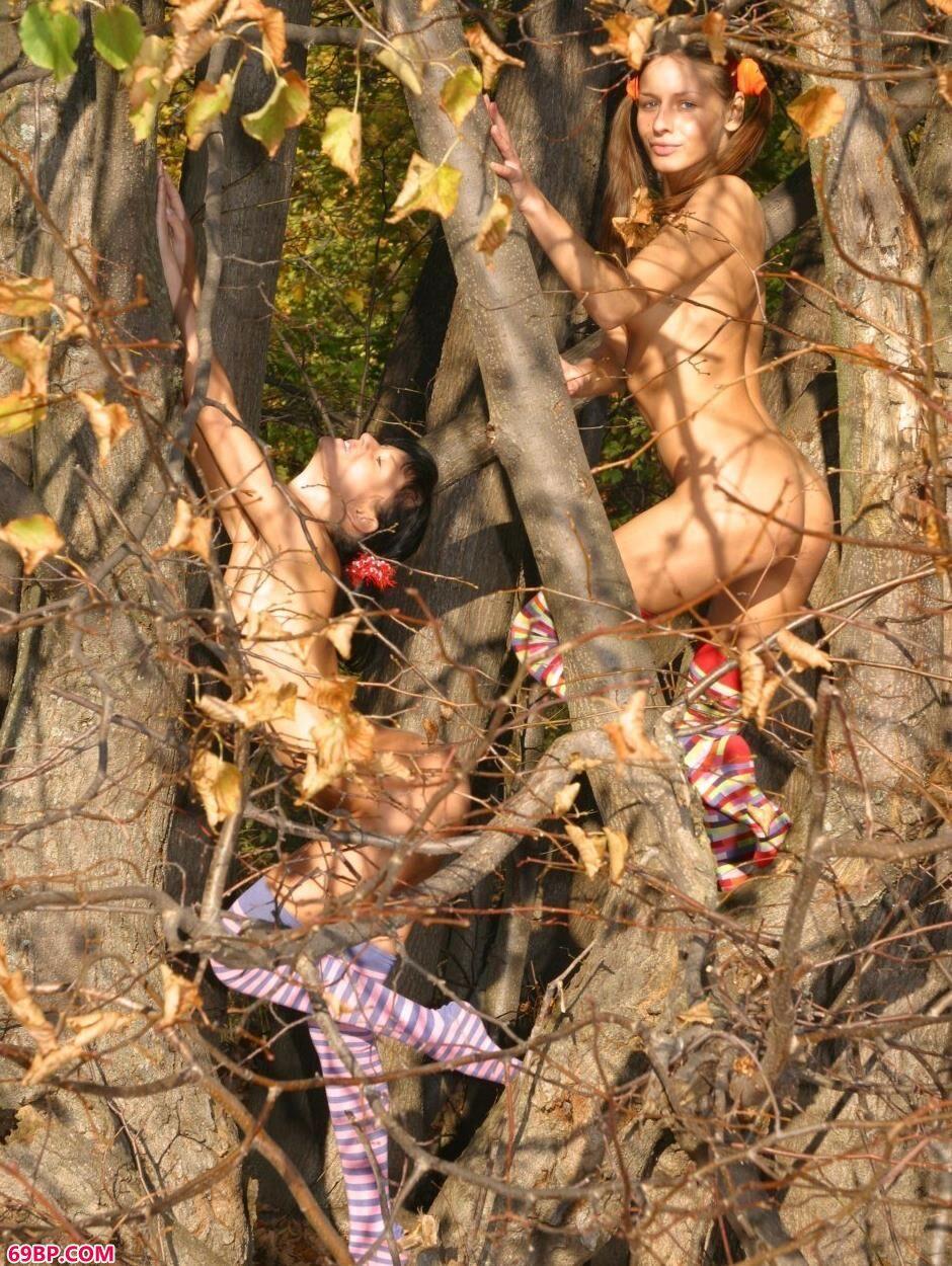 超模Vika和Nadia树枝上的甜美人体
